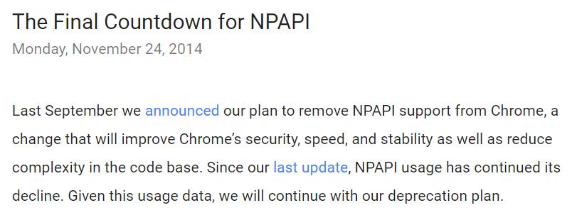 停止支援 NPAPI